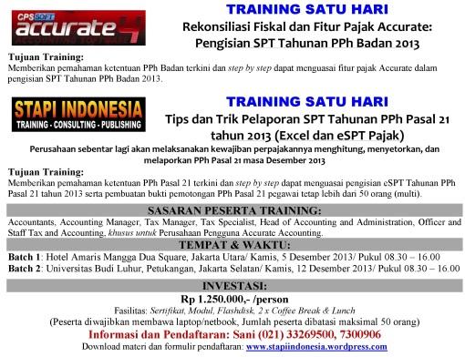 Profil Training SPT Badan & SPT PPh 21 2013